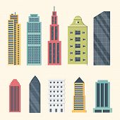 Buildings And Downtown Skyscrapers. Big City Buildings Vector Illustration. Office Apartment And Hou poster