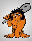picture of loincloth  - Cartoon caveman in loincloth carrying a club - JPG