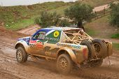Portalegre, Portugal - November 3: Helder Oliveira Drives A Nissan Navara In Baja 500, Integrated On