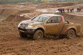 Portalegre, Portugal - November 3: Jose Mendes Drives A Mitsubishi L200 In Baja 500, Integrated On F