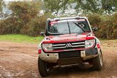Portalegre, Portugal - November 3: Jose Lucas Drives A Mitsubishi Pajero In Baja 500, Integrated On
