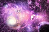 stock photo of halo  - Illustration of deep space bright colorful galaxy with planets and space ships - JPG