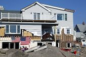 Destroyed beach houses in the aftermath of Hurricane Sandy