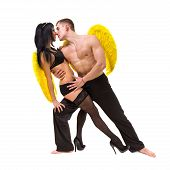Young Sexy Couple With Yellow Wings