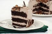 slice of chocolate cake with fork and napkin