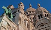 Sacre Coeur Basilica against blue sky