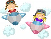 Illustration of Kids Wearing Aviator Outfits While Flying a Makeshift Airplane