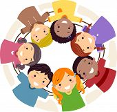 Illustration of Kids Huddled Together in a Circle