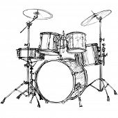 stock photo of drum-kit  - Vector illustration of a drum kit - JPG