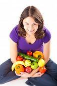 Healthy eating, happy woman with fruits and vegetables