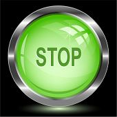 Stop. Internet button. Raster illustration.