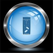 Glass with tablets. Internet button. Raster illustration.