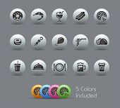 Food Icons - Set 2 of 2 // Pearly Series -------It includes 5 color versions for each icon in differ