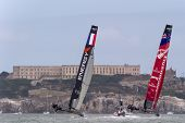 SAN FRANCISCO, CA - OCTOBER 4: The Energy Team and Emirates Team New Zealand compete in the America'