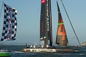 SAN FRANCISCO, CA - OCTOBER 4: Oracle Team USA skippered by James Spithill crosses the finish line in the America'?s Cup World Series sailing races in San Francisco, CA on October 4, 2012
