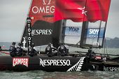SAN FRANCISCO, CA - OCTOBER 4: The Emirates Team New Zealand sailboat skippered by Dean Barker compe