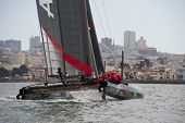 SAN FRANCISCO, CA - OCTOBER 4: Sweden'??s Artemis Racing White sailboat skippered by Terry Hutchinso