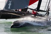 SAN FRANCISCO, CA - OCTOBER 4: Sweden's Artemis Racing Red sailboat skippered by Nathan Outteridge c