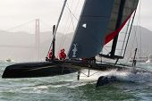 SAN FRANCISCO, CA - OCTOBER 4: Sweden's Artemis Racing Red sailboat skippered by Nathan Outteridge competes in the America'?s Cup World Series sailing races in San Francisco, CA on October 4, 2012