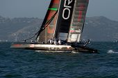 SAN FRANCISCO, CA - OCTOBER 4: The Oracle Team USA sailboat skippered by Russell Coutts competes in