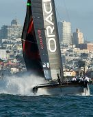 SAN FRANCISCO, CA - OCTOBER 4: The Oracle Team USA sailboat skippered by Russell Coutts competes in the America's Cup World Series sailing races in San Francisco, CA on October 4, 2012