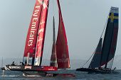 SAN FRANCISCO, CA - OCTOBER 4: Sweden's Artemis Red and Emirates Team New Zealand competes in the Am