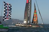 SAN FRANCISCO, CA - OCTOBER 4: Oracle Team USA skippered by Russell Coutts crosses the finish line in the America'??s Cup World Series sailing races in San Francisco, CA on October 4, 2012