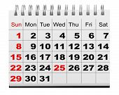 December 2012-2013 spiral calendar isolation on the white backgrounds.