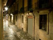 Empty alleyway in Barcelona. Spain. Street Carrer dels Tallers by night