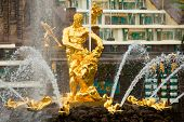 PETERHOF, RUSSIA - JULY 1: Samson and Lion - central fountain palace and park ensemble