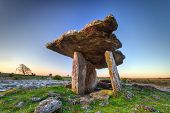 stock photo of burial  - 5 000 years old Polnabrone Dolmen in Burren - JPG