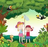 illustration of animals, birds and kids in a beautiful nature