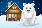 illustration of a polar bear infron of house