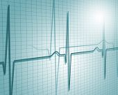 stock photo of electrocardiogram  - A medical background with a heart beat  - JPG