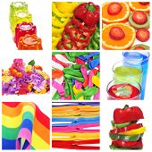 a collage of nine pictures of colorful things of different colors, as gelatine, peppers, fruits, flo