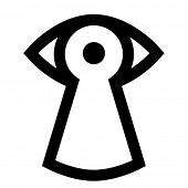Vector spy icon - eye looking through keyhole