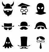 Character icon collection. BW Avatar. Vector.