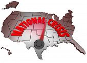The words National Crisis on a map of the United States of America symbolizing that the USA is facing a crisis in the economy, unemployment at war or facing some other major problem