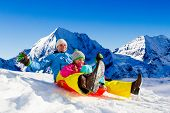 stock photo of snow-slide  - Winter fun - JPG