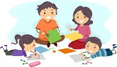 Illustration of a Family Making Paper Crafts Together