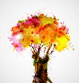 pic of dab  - autumn abstract tree forming by blots - JPG