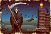 illustration of grim holding sword in Halloween night