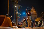 Varanasi Night Prayer Brahmin Priest Side Incense