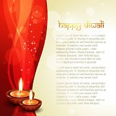 image of diya  - beautiful diwali vector background with space for your text - JPG