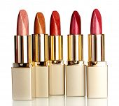 Beautiful lipsticks, isolated on white