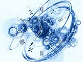 picture of clocks  - Composition of gears clock elements dials and dynamic swirly lines on the subject of scheduling temporal and time related processes deadlines progress past present and future - JPG