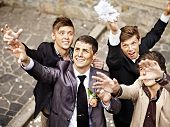image of garter  - Group men catch  bride  garter - JPG