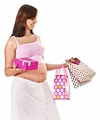 Pregnant woman with shopping bag.  Isolated.