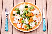 steamed vegetables,broccoli,carrot and cauliflower