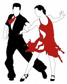 stock photo of jive  - Abstract vector illustration of latino dancers couple - JPG